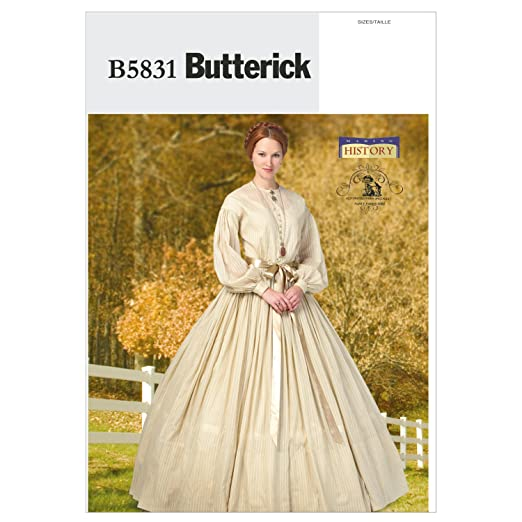Steampunk Sewing Patterns- Dresses, Coats, Plus Sizes, Men's Patterns 1860s Dress Size F5 (16-18-20-22-24) $7.20 AT vintagedancer.com