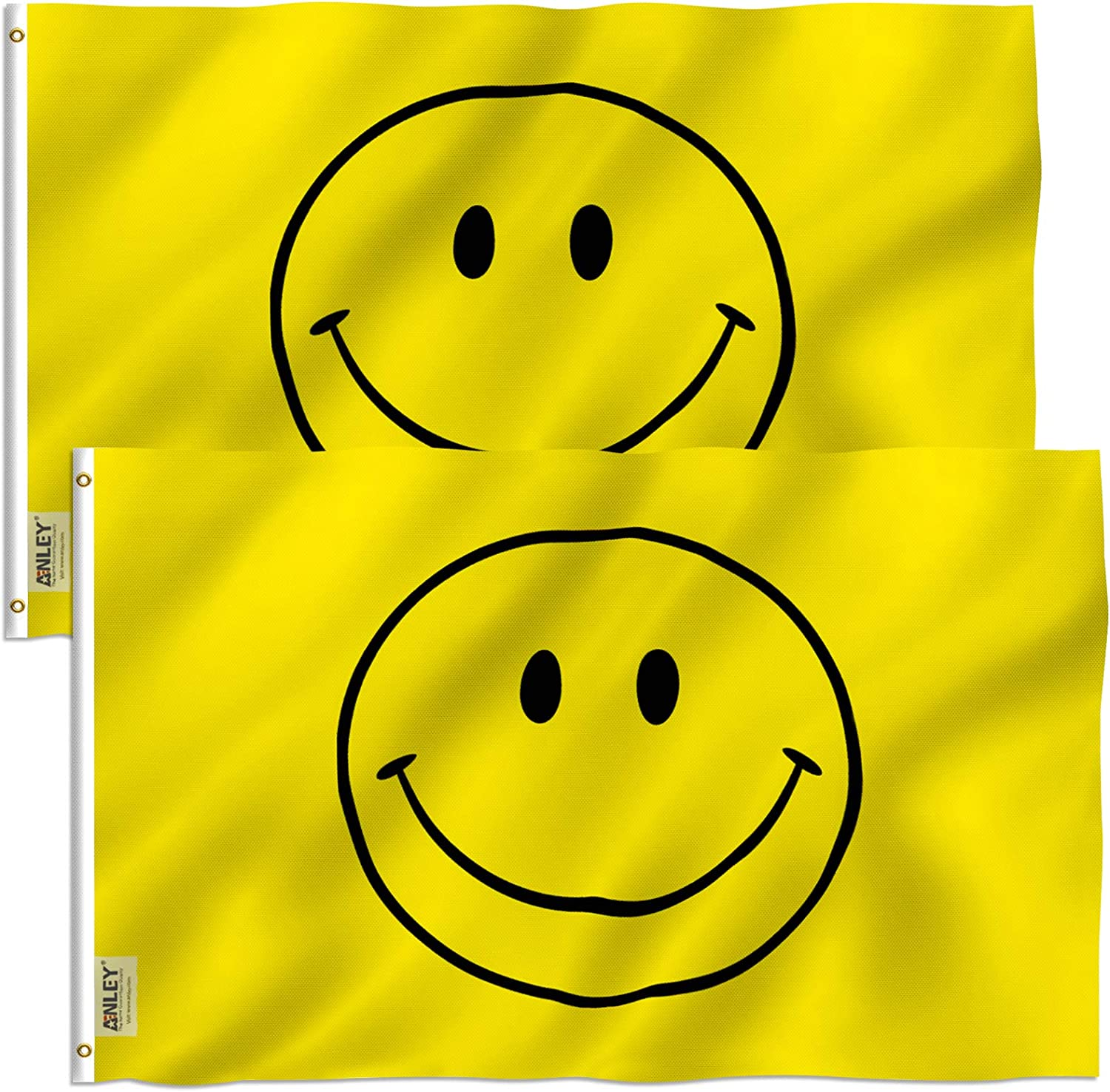Anley Pack of 2 Fly Breeze 3x5 Foot Yellow Smiley Face Flag - Vivid Color and Fade Proof - Canvas Header and Double Stitched - Happy Face Flags Polyester with Brass Grommets 3 X 5 Ft