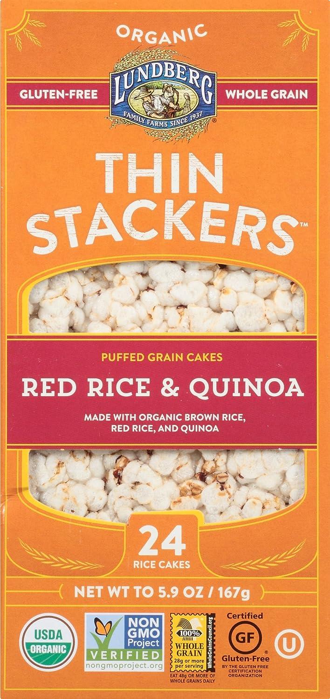 Lundberg Family Farms Organic Thin Stackers Grain Cakes, Red Rice and Quinoa, 5.9 oz