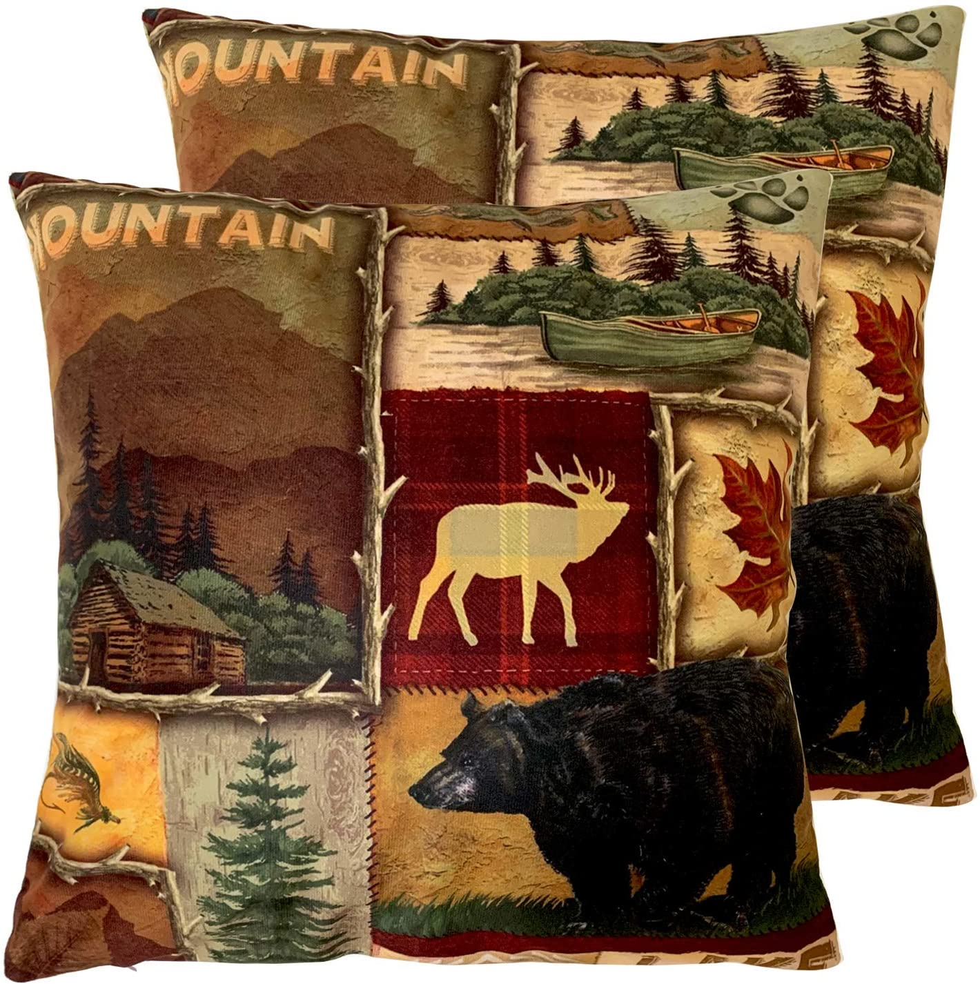 Set of 2 Square 18X18 inch Throw Pillow Cover for Women/Men, Short Plush Pillow Case Cushion Cover for Home Sofa Couch Living Room Car Decor - Rustic Lodge Bear Moose Deer