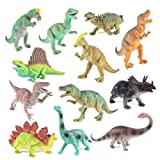 """BOLEY Educational Dinosaur Toys 12 pack - kids 9"""" realistic toy dinosaur figures for cool kids and toddler education! (T-rex, triceratops, velociraptor, etc) Great gift set and party favors!"""