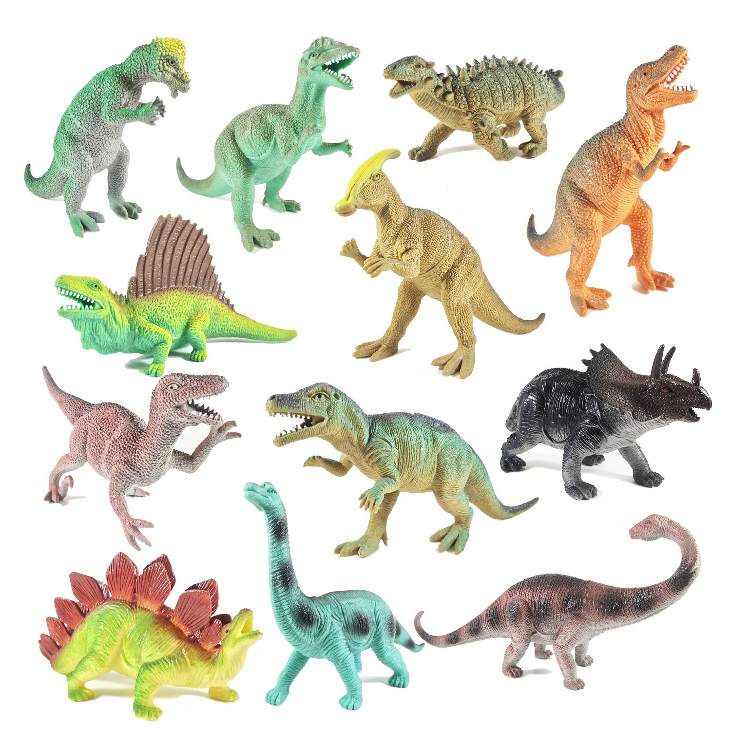 Boley 12 Pack 9'' Educational Dinosaur Toys - Kids Realistic Toy Dinosaur Figures for Cool Kids and Toddler Education! (T-rex, Triceratops, Velociraptor, etc)