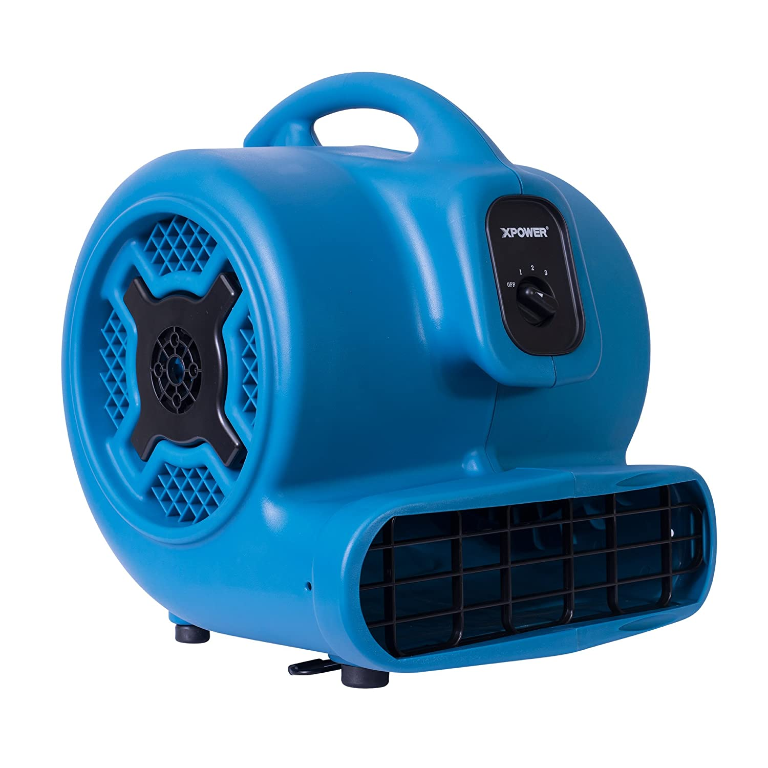 XPOWER P-830 Professional Air Mover, Carpet Dryer, Floor Fan, Blower for Water Damage Restoration, Commercial Cleaning and Plumbing Use - 1 HP, 3600 CFM, 3 Speeds, Blue