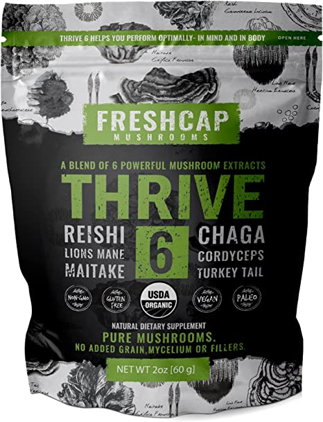 FreshCap Mushrooms Thrive 6 Powerful Mushroom Extract Powder