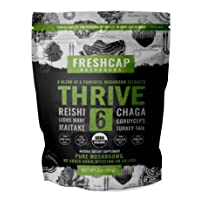 Thrive 6 Powerful Mushroom Extract Powder - USDA Organic - Lions Mane, Reishi, Cordyceps...