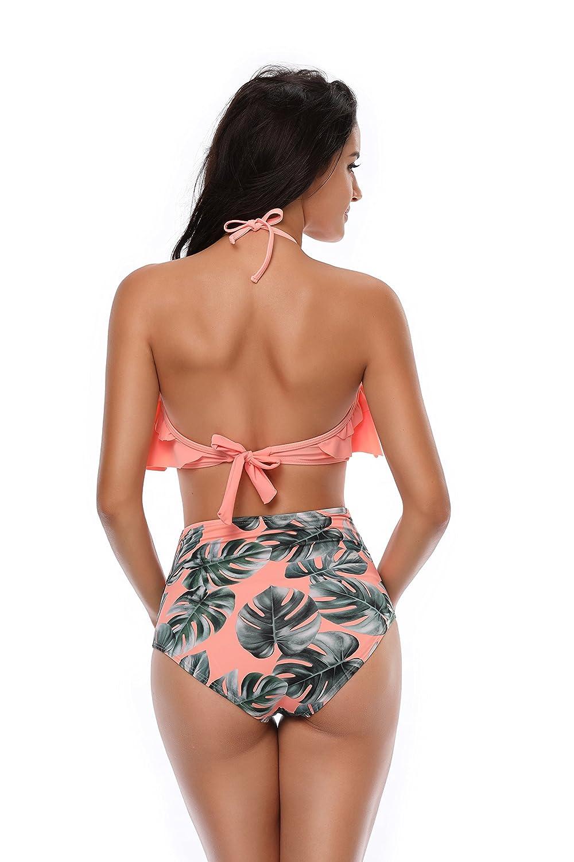 JerrisApparel Girls Ruffle High Waist Bikini Set Two Pieces Swimsuit Bathing Suit