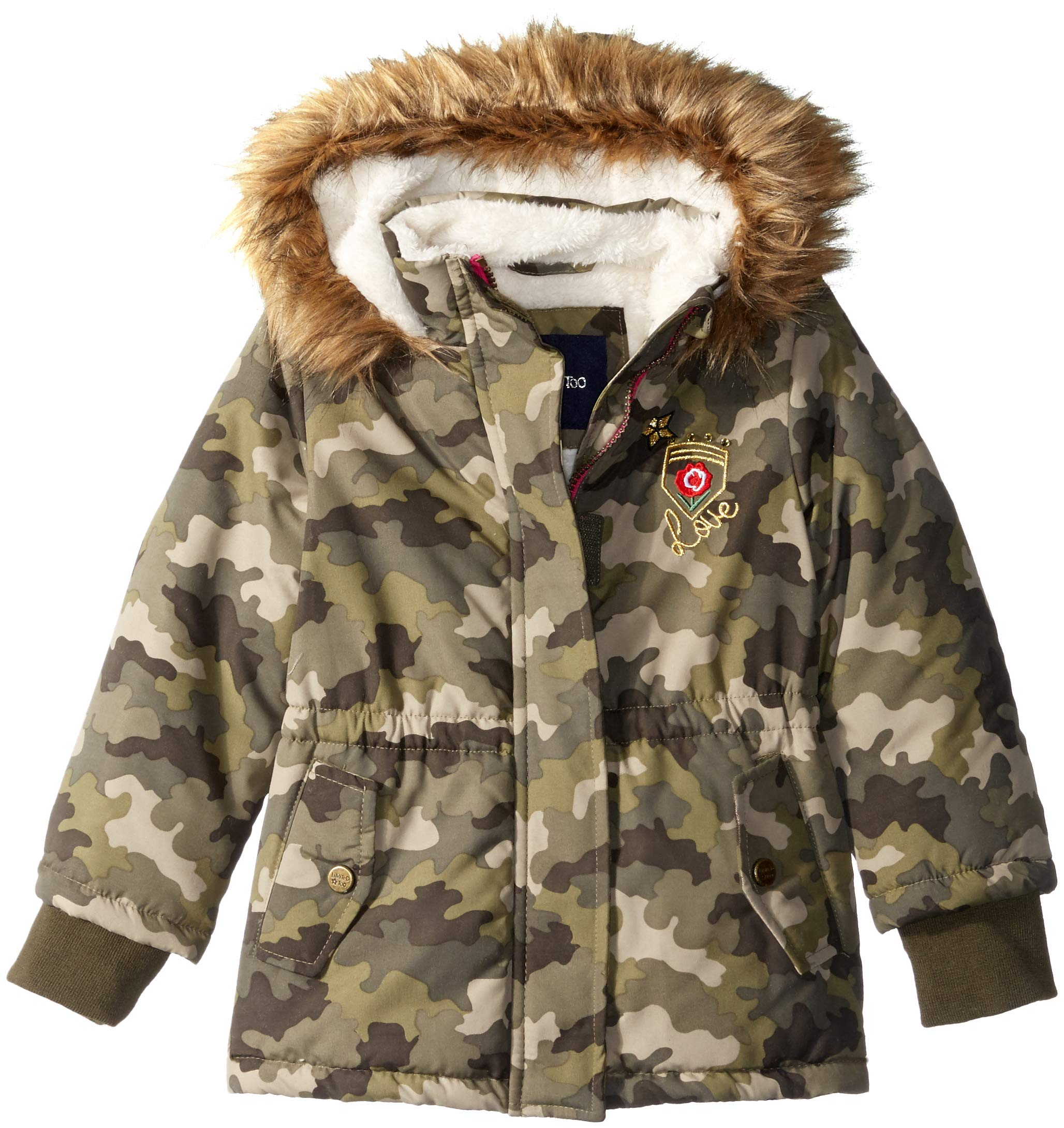 Limited Too Girls' Big Sueded Microfiber Heavy Anorak W/Sherpa, Camouflage Love, 10/12