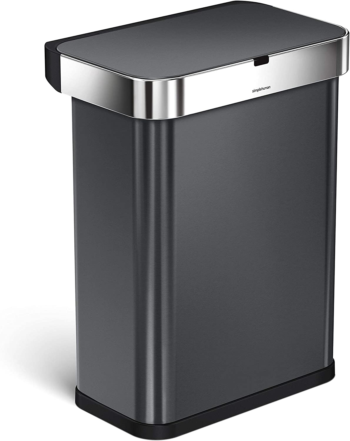 15.3 Gallon 58L Stainless Steel Touch-Free Rectangular Kitchen Sensor Trash Can with Voice and Motion Sensor simplehuman 58 Liter Voice Activated Black Stainless Steel