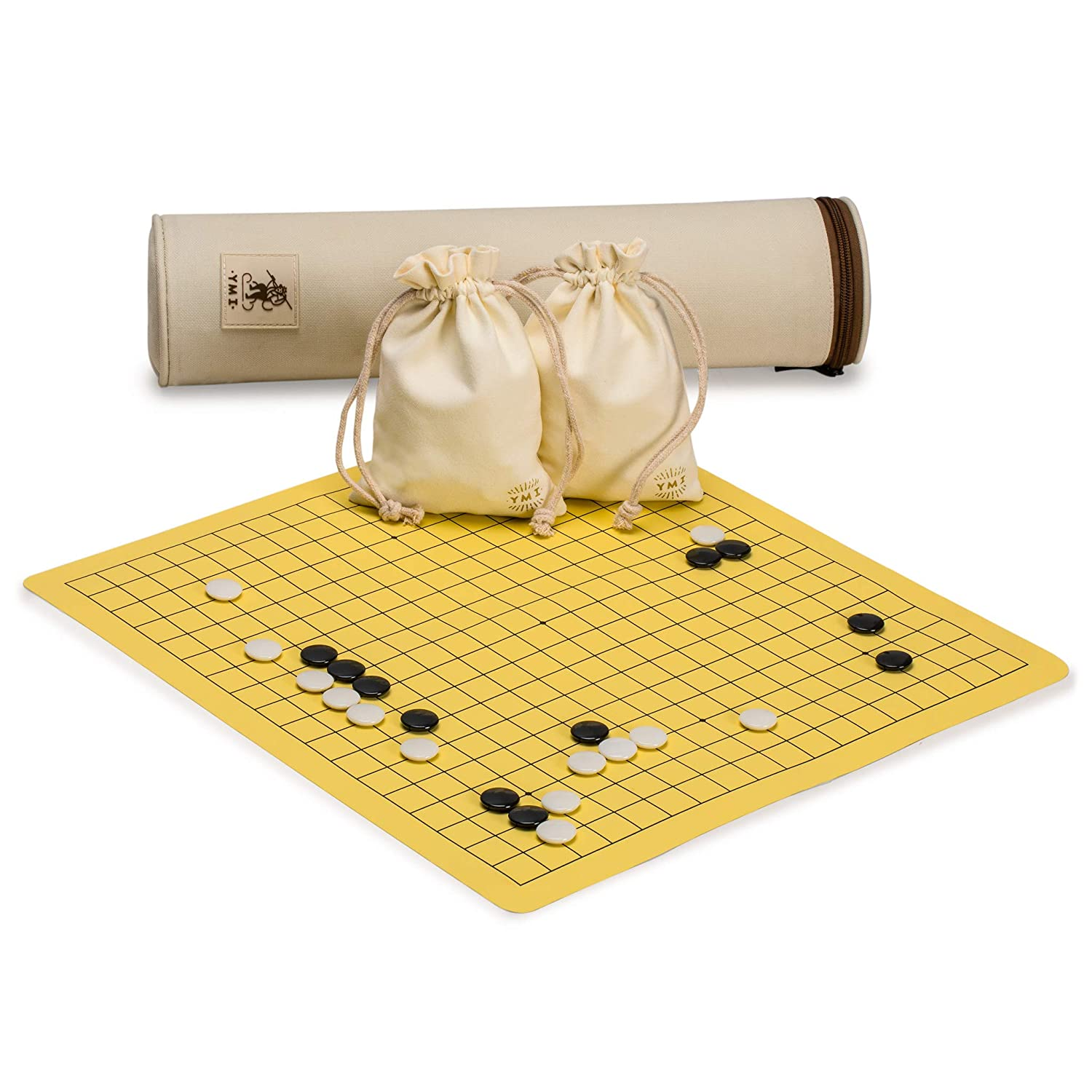 Yellow Mountain Imports Magnetic Go Board with Single Convex Magnetic Plastic Stones Game Set