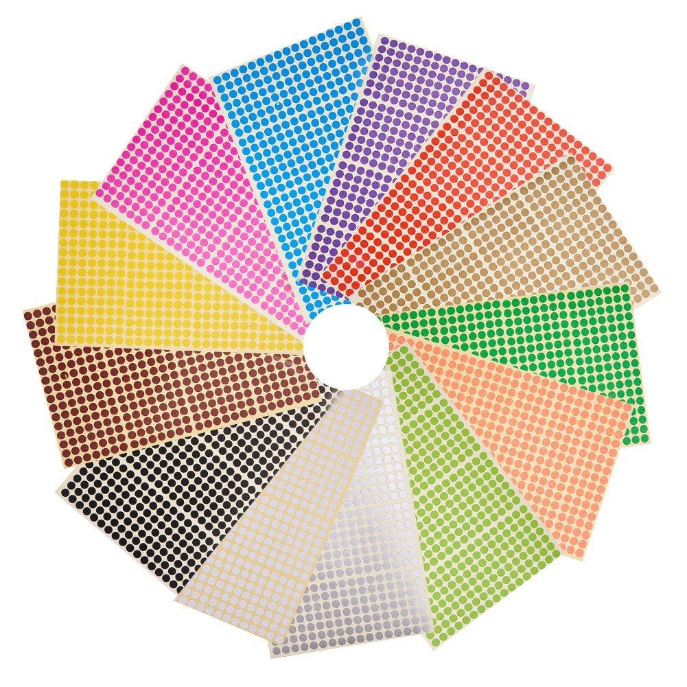 NBEADS Etiquetas Adhesivas Redondas pequeñas de 6 mm Etiquetas Autoadhesivas para Etiquetas Adhesivas, 28 Hojas (13328 Puntos), Color Mezclado, 22.2x12.5 cm
