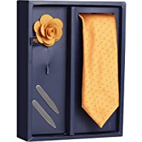 Peluche The Smoothing Set Gift Box Includes 1 Neck Tie, 1 Brooch & 1 Pair of Collar Stays for Men