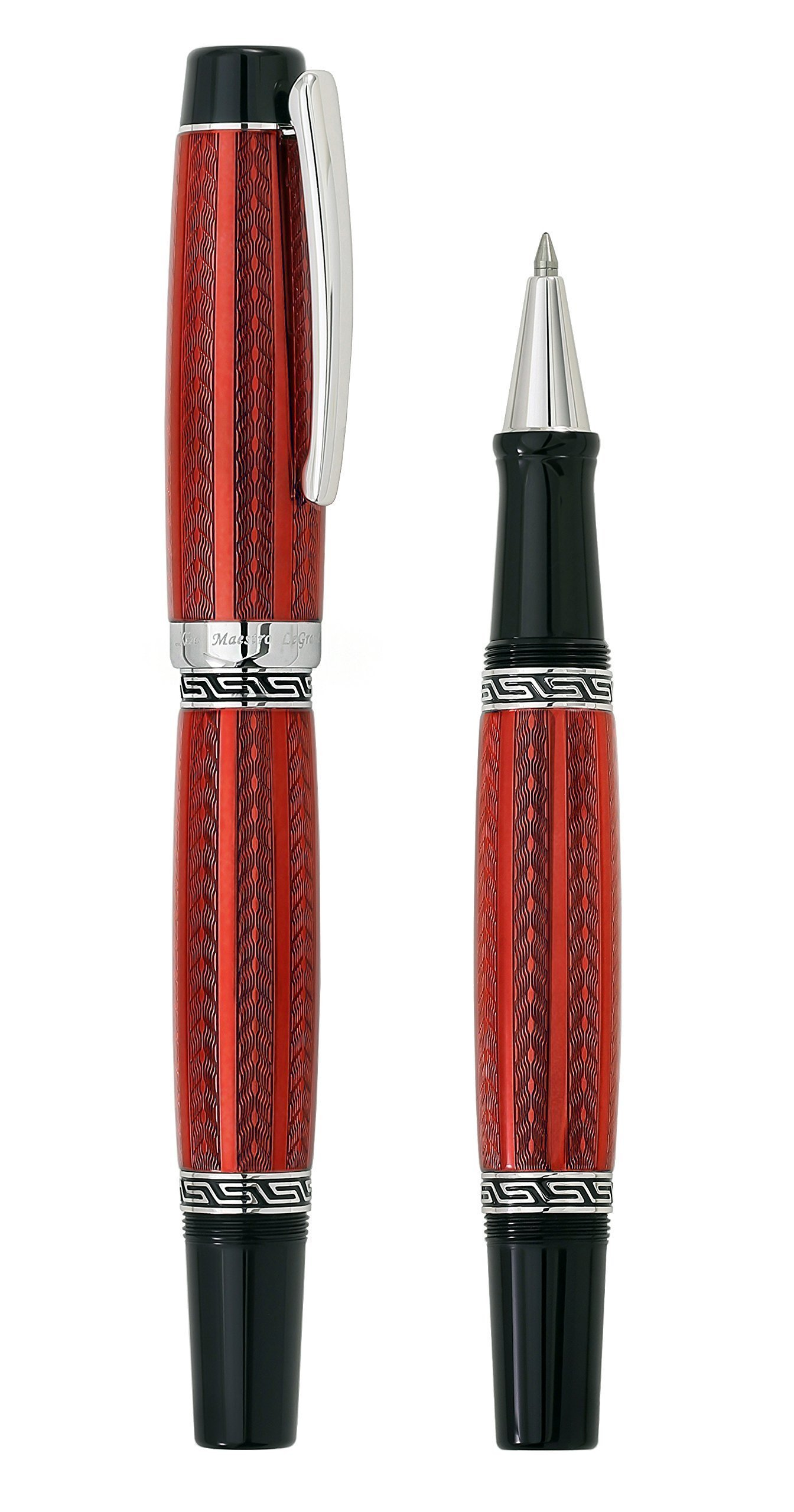 Xezo Maestro LeGrand Diamond Cut, Lacquered, Platinum Plated Fine Rollerball Pen in Rhodochrosite Color