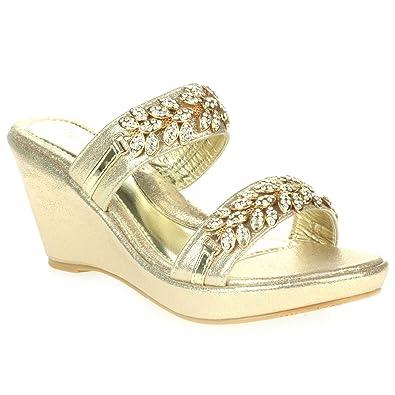 AARZ LONDON Frau Damen Kristall Diamant Abend Party Abschlussball Beiläufig Keilabsatz Schlüpfen Sandalen Weiß Schuhe Größe 37 RfXmI