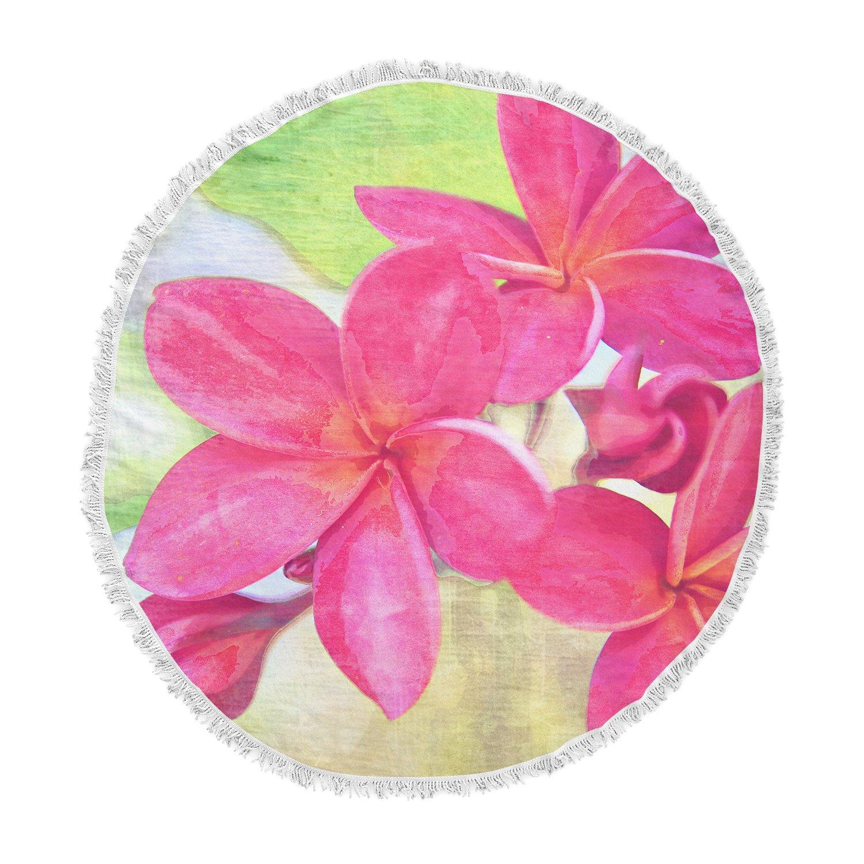 Kess InHouse Sylvia Cook Plumeria Flower Petals Round Beach Towel Blanket