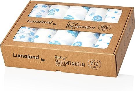 Lumaland Gasas- Paños para Bebé. 10 u 80 x 80 cm. 100 ...