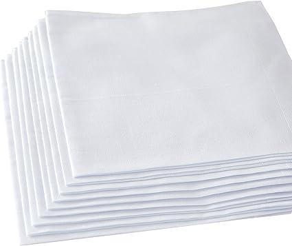 Amazon Com Pañuelos Para Hombre 100 Algodón Suave Pañuelo Blanco Paquete De 12 Piezas Clothing