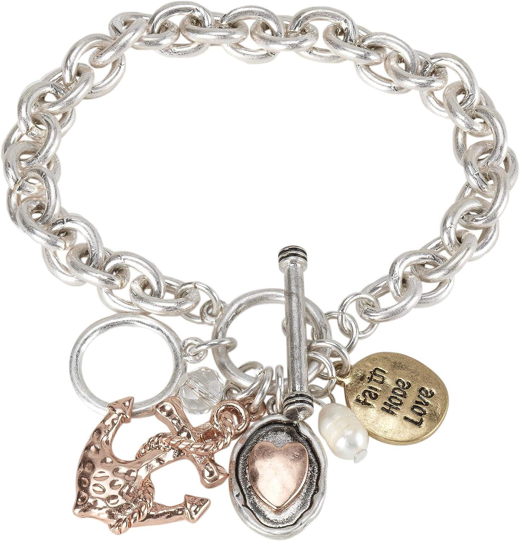 Birthday Crystal Charm Bead Delight Jewelry Silvertone Alpha Female Oval