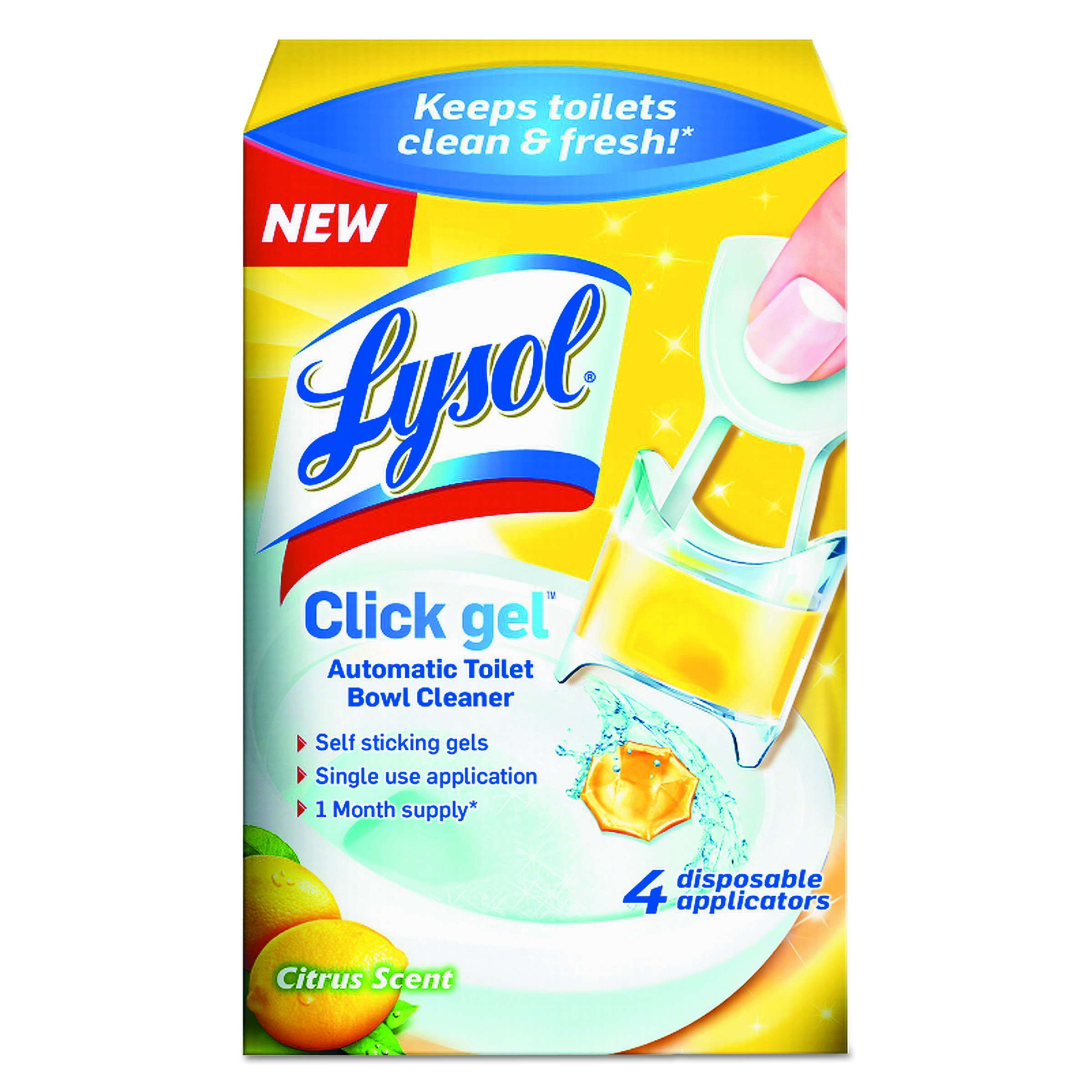Lysol Automatic Toilet Bowl Cleaning Click Gel, Citrus Scent, 4 Count (Pack of 5) by Lysol (Image #1)