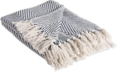 "DII Rustic Farmhouse Cotton Chevron Blanket Throw with Fringe For Chair, Couch, Picnic, Camping, Beach, & Everyday Use , 50 x 60"" - Urban Chevron French Blue"