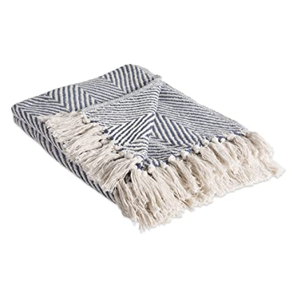 c25fbfe949267 DII Rustic Farmhouse Cotton Chevron Blanket Throw with Fringe For Chair