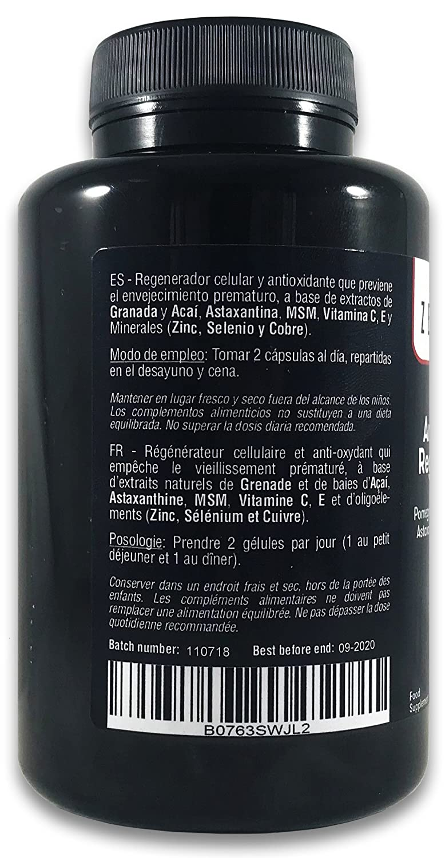 ANTIOXIDANTE REGENERADOR CELULAR, Anti-edad, 120 Cápsulas, con Granada, Açaí, Astaxantina, MSM, Vitaminas C, E y Minerales (Zinc, Selenio y Cobre) | 100% ...