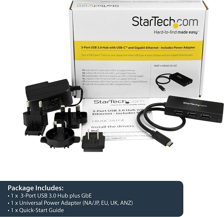 USB C Network Adapter StarTech.com 3 Port USB C Hub with Ethernet HB30C3A1GE USB-C to 3X USB-A w//Power Adapter /& Gigabit Ethernet Thunderbolt 3 Compatible