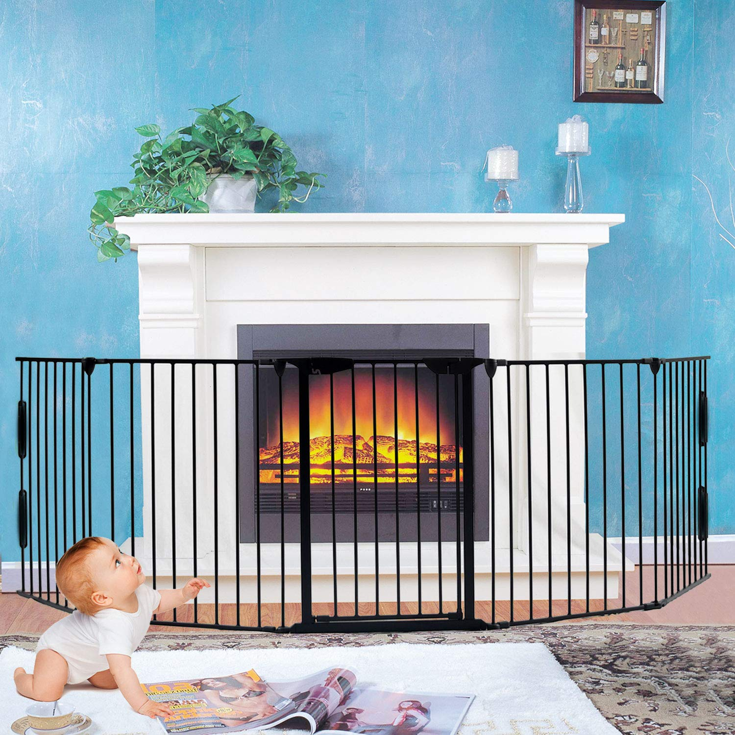 Fireplace Fence,Baby Safety Gate Fireplace Freestanding 3-in-1 Wide Adjustable 5-Panel Folding Metal Barrier- 125 Long Play Yard with Door for Indoor Pet Dog Christmas Tree Enclosure,30 Tall Black
