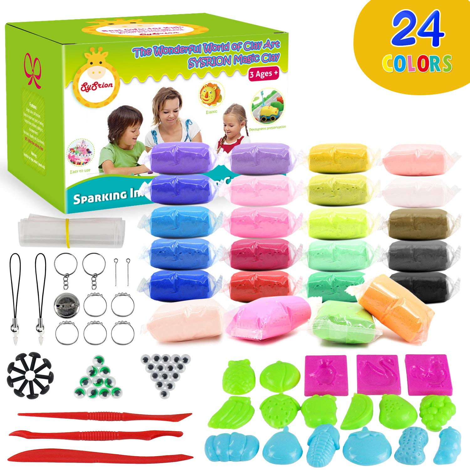 5bd741282 Sysrion Modeling Clay Kit – Super Light Modeling Clay Kits for Kids 24  Colors, Non-Toxic & Non-Sticky Air Dry Clay Set for Kids, Kids Clay Set,  Creative DIY ...