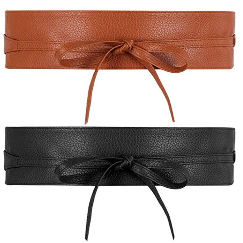 BodyGo Donna Pizzo 2 Paia delle Cintura Bow Cravatta Wrap Around Obi Vita Ecopelle Band Cinch Boho Cinture in Ecopelle