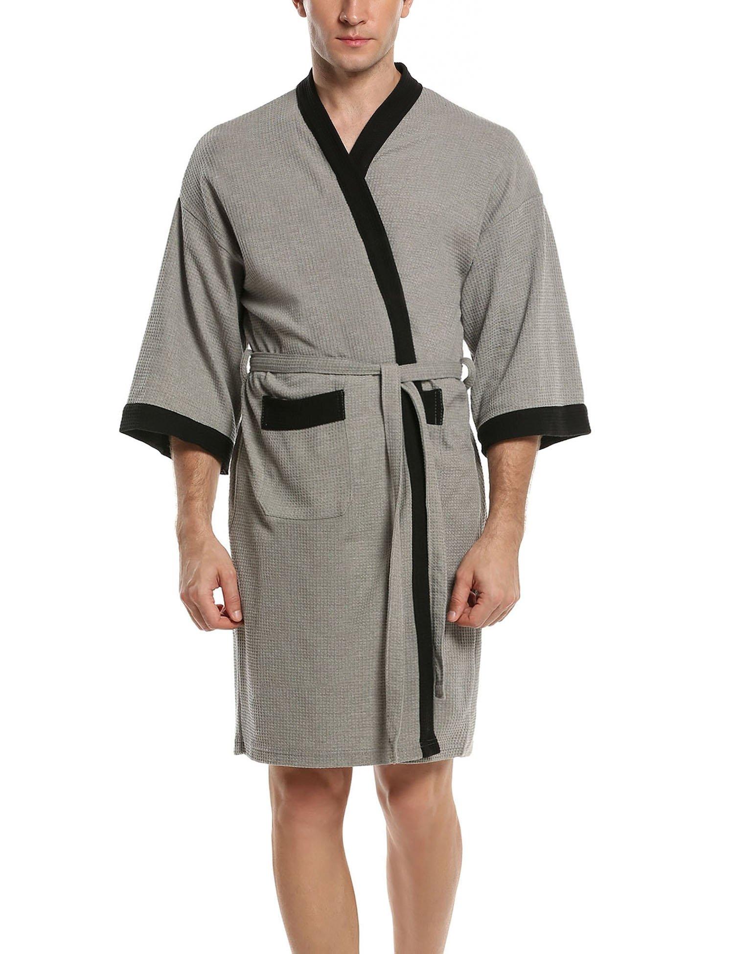 HOTOUCH Men's Waffle Kimono Robe Grey Black M