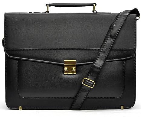 e0b5dfd6b4 tracolla uomo borsa VINTAGE MADE ITALY eco pelle grande elegante nera  passeggio lavoro ufficio dottore scuola