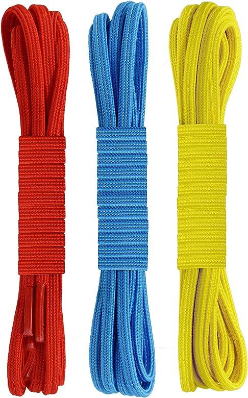 Miscly Lacets /Élastiques Plats 3 Paires Lacets Plats de 6mm de Largeur