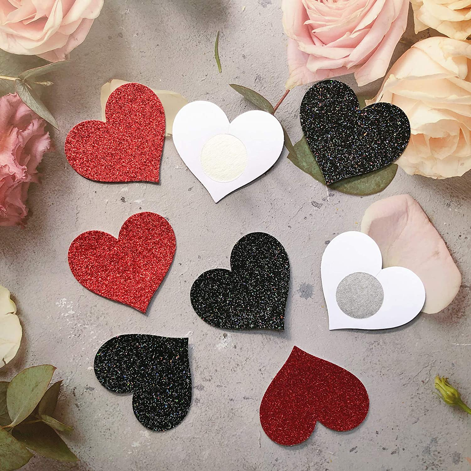U//D 12 Pairs Glitter Nipple Breast Covers Heart Shaped Nipple Stickers Disposable Nipple Pasties Bra Petals Covers for Women Red