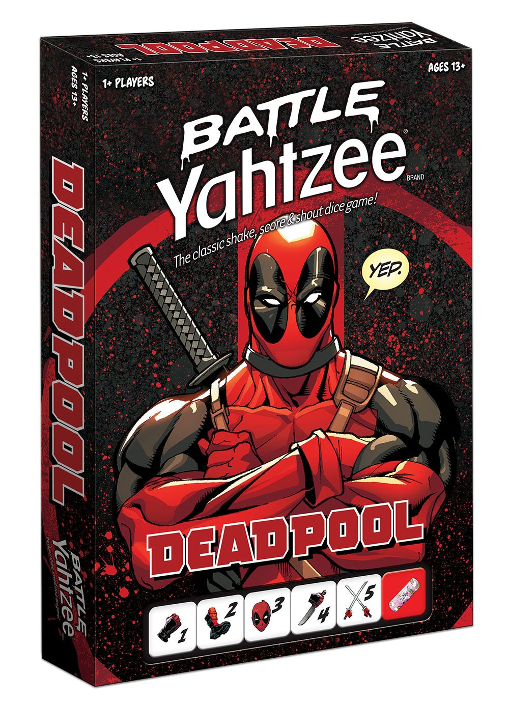 BATTLE YAHTZEE: Marvel Deadpool Board Game by USAOPOLY (Image #1)