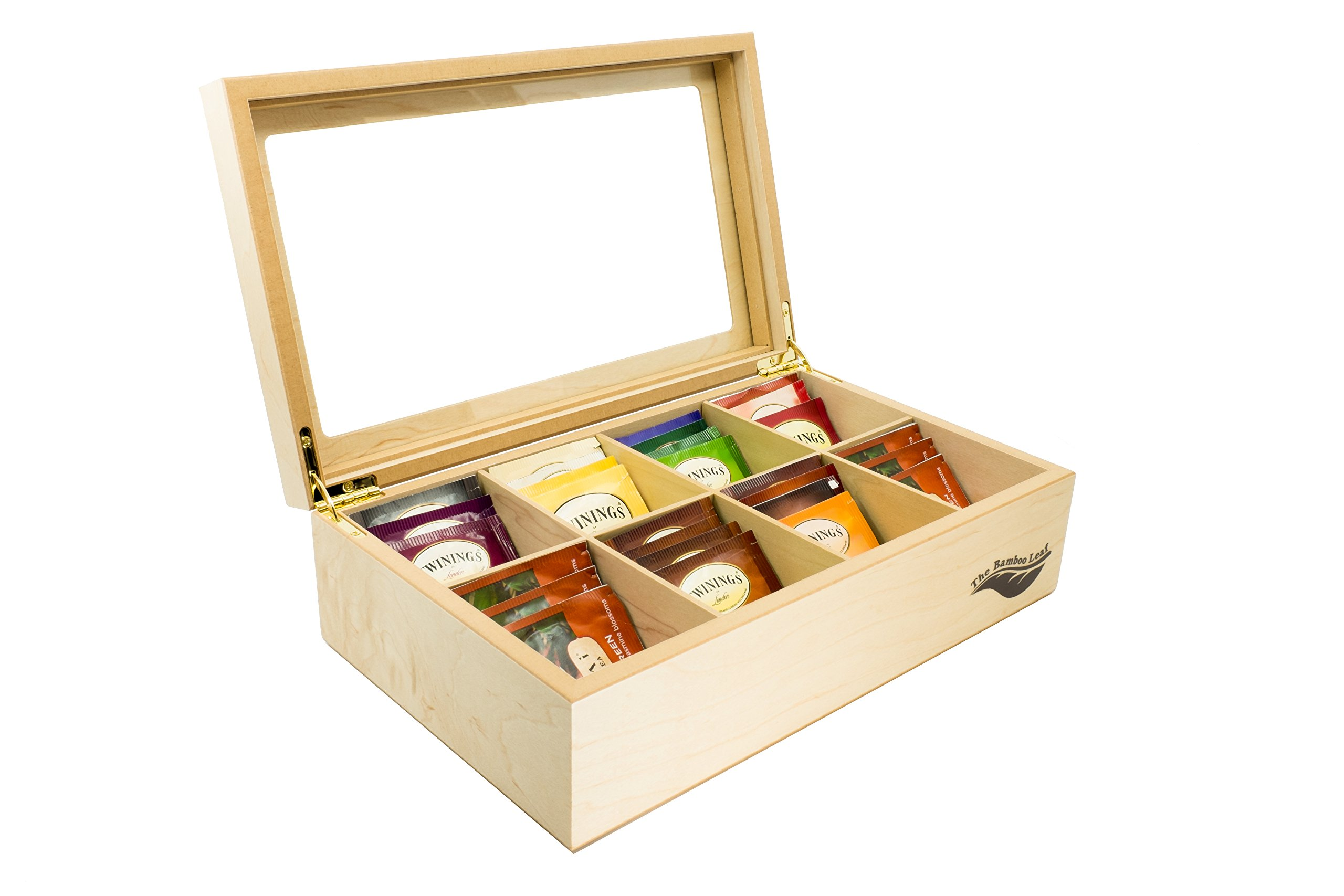 The Bamboo Leaf Luxury Wooden Tea BoxStorage Chest, 8 Compartments w/Glass Window (Natural) by The Bamboo Leaf (Image #1)