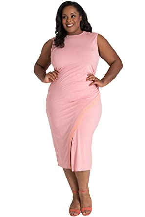 ef18100f04969 Poetic Justice Plus Size Curvy Women s Pink   Coral Sheath Dress at ...