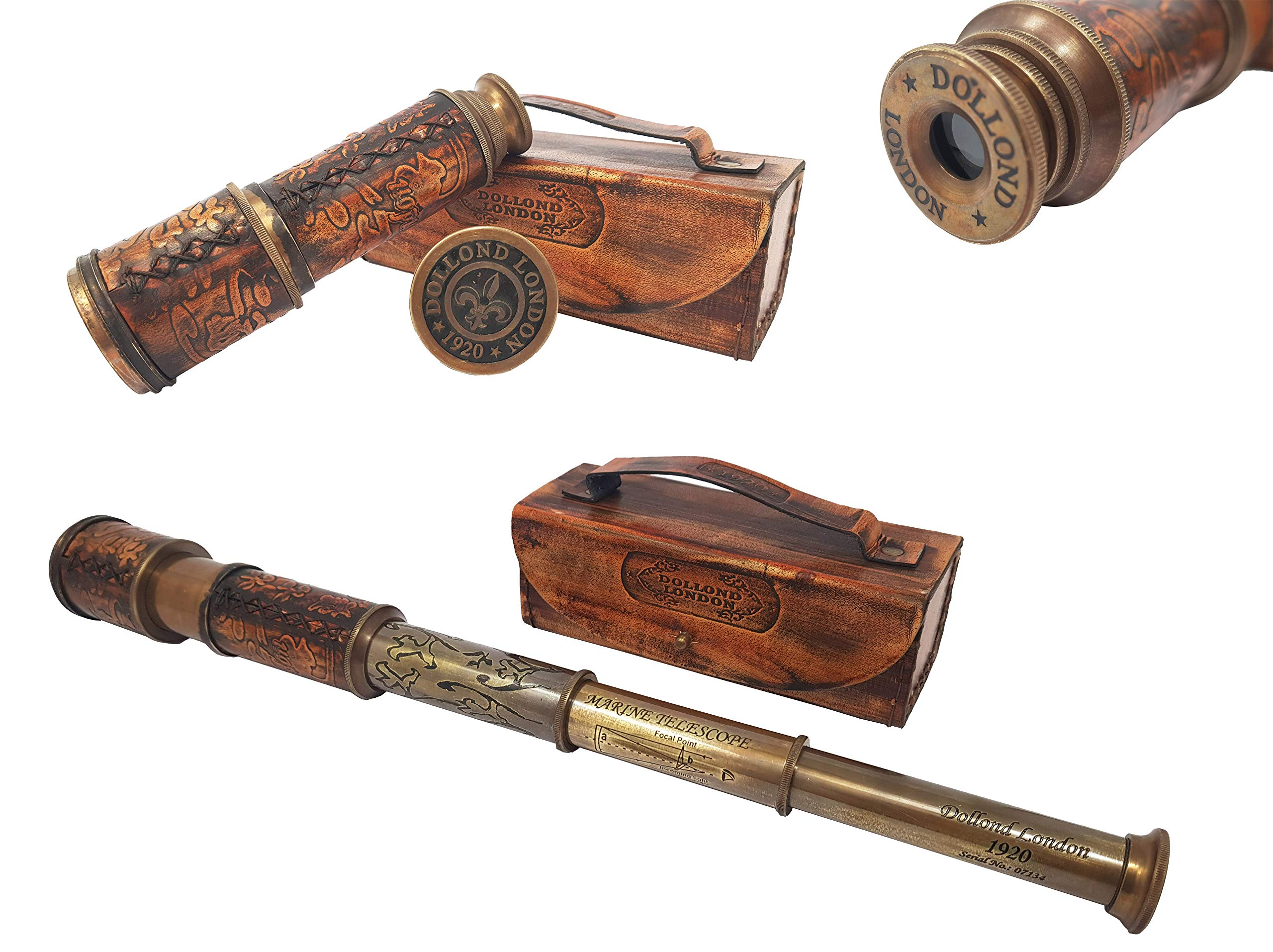 Brass Nautical - Antique Working Telescope / Spyglass Replica in Leather Box, with Glass Optics, Extendable to 14 inches, Made of Pure Brass, Decorative Kids Scope