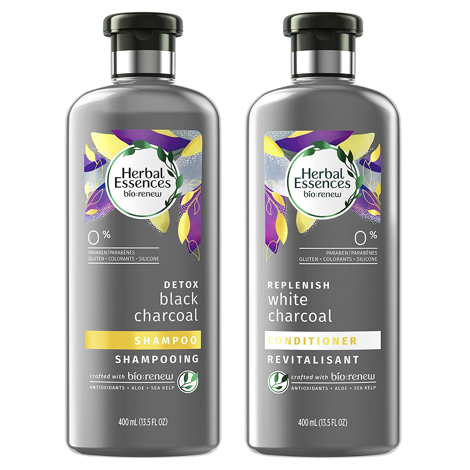 Herbal Essences Black Activated Charcoal Shampoo and White Charcoal Conditioner Set, 13.5 FL OZ Each (Pack of 2) - Biorenew Procter & Gamble Haba Hub