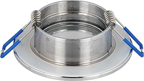 Spot aluminium IP44/spot/ /Chrom/é mat rectangulaire/ /pour pi/èces humides salle de bain /avec fermeture /à clic et verre/