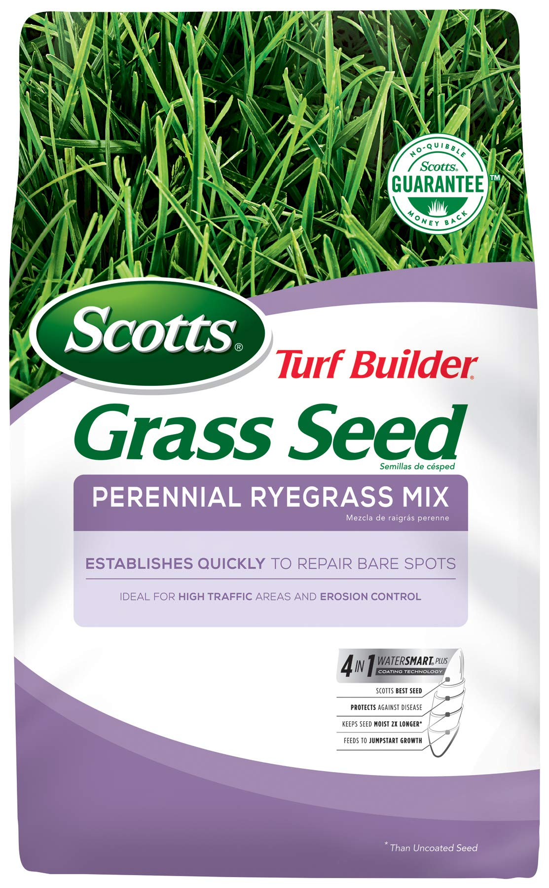 Scotts Turf Builder Grass Seed Perennial Ryegrass Mix, 7.lb. - Full Sun and Light Shade - Quickly Repairs Bare Spots, Ideal for High Traffic Areas and Erosion Control - Seeds up to 2,900 sq. ft. by Scotts