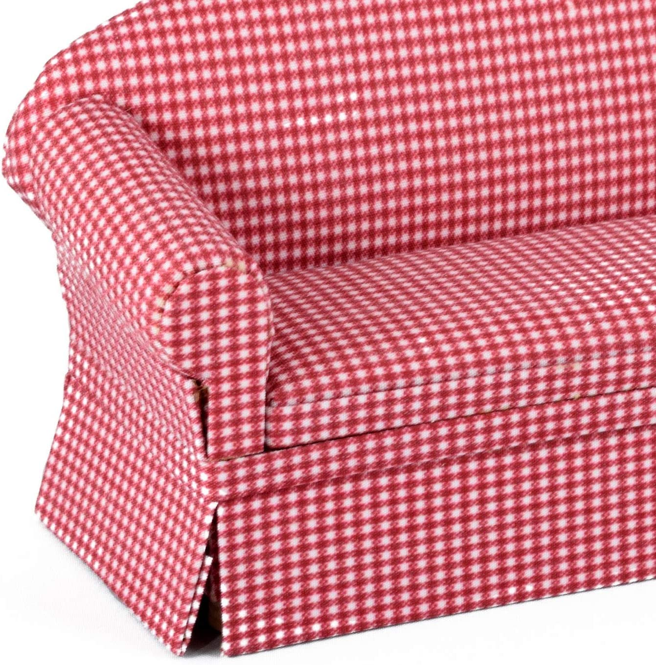 Dolls House Furniture Couch /& Chair Red Checkered Inusitus Set of Matching Dollhouse Sofa /& Armchair red Check 1//12 Scale