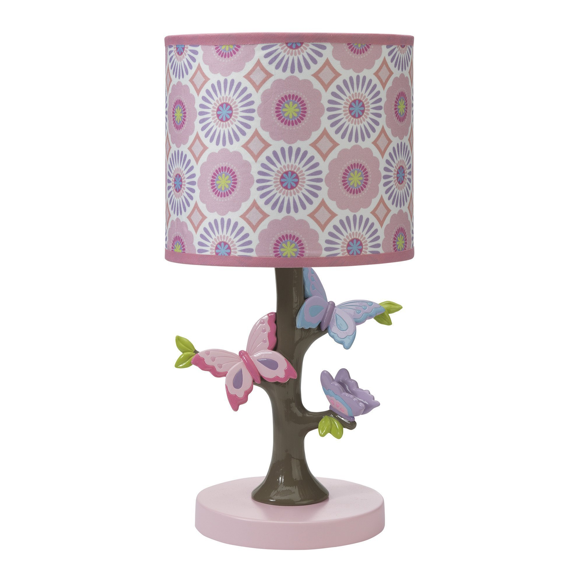 Lambs & Ivy Happi by Dena Butterfly Garden Lamp Shade & Bulb, Pink