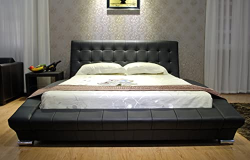 Greatime B1053-5 Queen Black Modern Leatherette Platform Bed