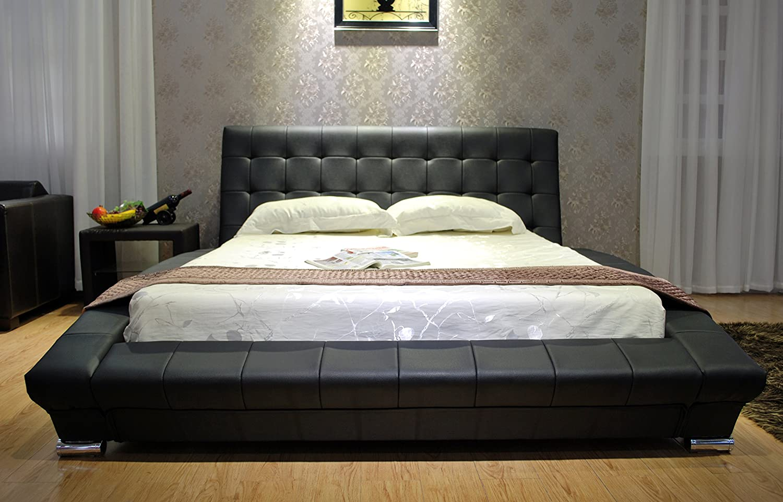 Greatime B1053-5 Queen Black Modern Leatherette Platform Bed
