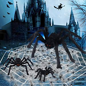 Halloween Spider Decorations,11.5Ft Spider Web & 800sqft Cobwebs & 3 Large Fake Spider & 40pcs Small Spiders,Scary Spider Set for Indoor Outdoor Halloween Decorations Haunted House Décor(35