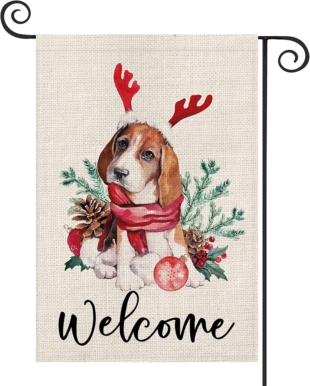 AVOIN Christmas Welcome Watercolor Dog Antlers Pinecones Garden Flag Vertical Double Sized, Winter Holiday Lights Berry Yard Outdoor Decoration 12.5 x 18 Inch