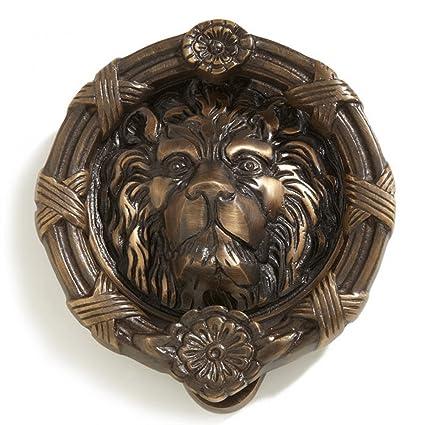 Casa Hardware Lion Head Brass Door Knocker in Antique Brass Finish - Casa Hardware Lion Head Brass Door Knocker In Antique Brass Finish