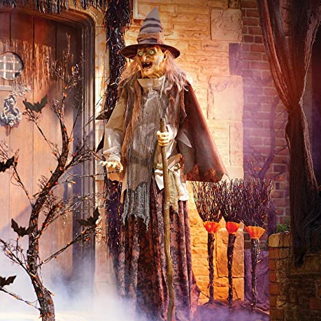 Improvements Lunging Haggard Witch Prop Animated Halloween Decoration Haunted House Prop