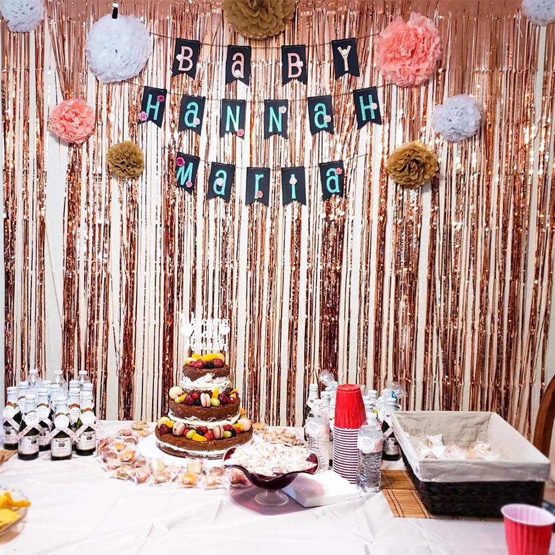 Birthday Rose Gold Photo Booth Backdrop Curtain 2pcs Tinabless Bachelorette Party Decorations Metallic Foil Fringe Curtains for Wedding New Years Christmas Holiday Celebration Party Decorations