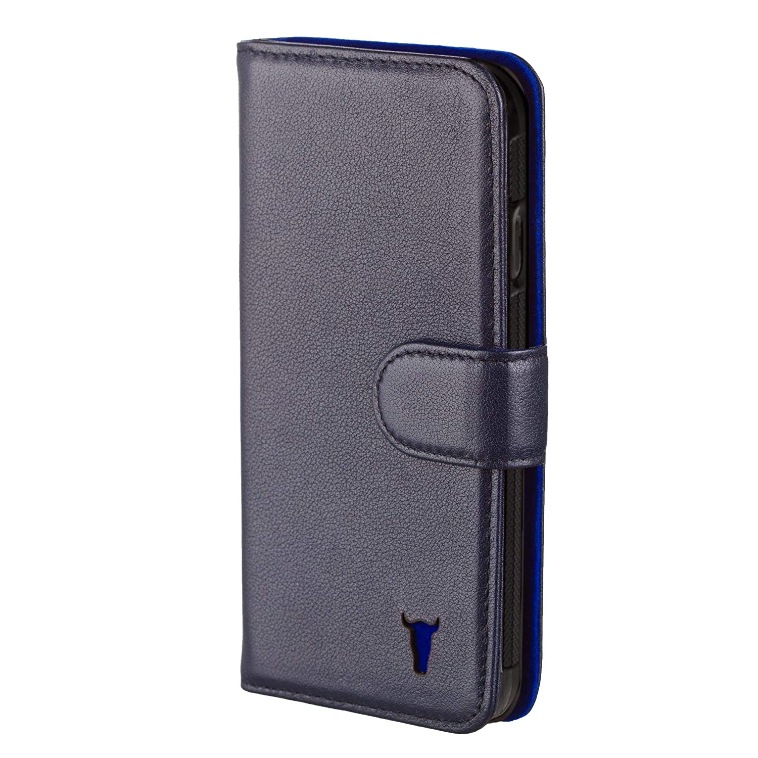 new product 2bf6f a55cc TORRO Premium Leather Wallet Case compatible with iPhone 6S. Genuine Navy  Blue Leather Wallet Case with Card Slots for Apple iPhone 6 and iPhone 6S -  ...